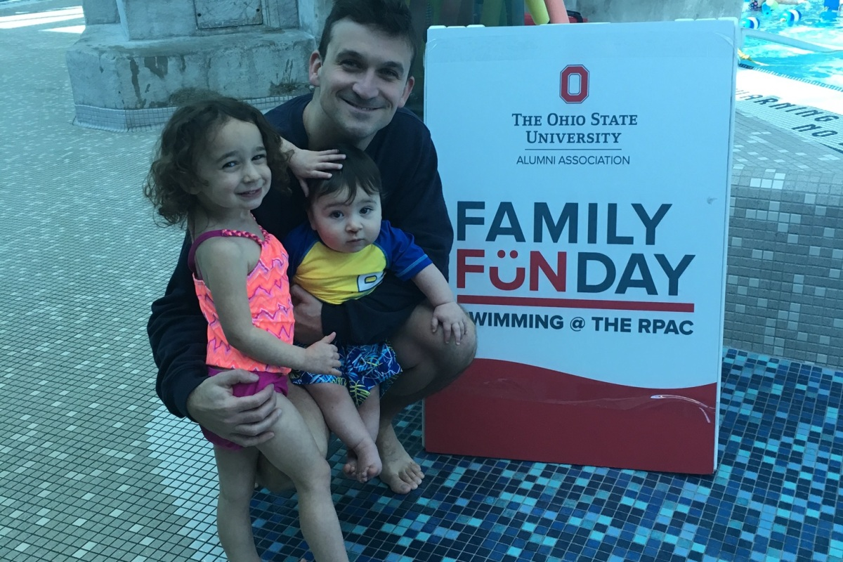 Dad blogger Steve Michalovich with his kids at the RPAC on Ohio State's campus