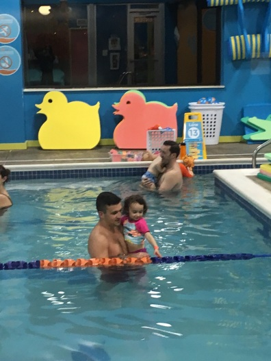 CBUS Dads dad blogger Steven Michalovich and his daughter during a recent swim lesson at Goldfish Swim School in Westerville.
