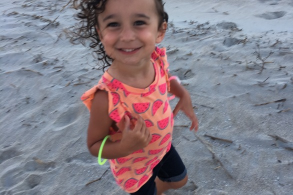 CBUS Dads dad blogger Steve Michalovich's daughter on Hilton Head Island beach.