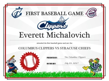 My son's first game certificate from the Columbus Clippers