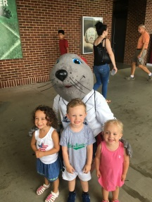 Lou Seal visited with the kids during our trip to Huntington Park