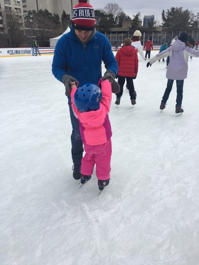 CBUS Dads dad blogger Steve Michalovich skating with his daughter at the Columbus Blue Jackets outdoor Winter Park in Downtown Columbus