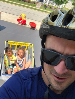 CBUS Dads dad blogger Steve Michalovich taking his kids out for a bike ride