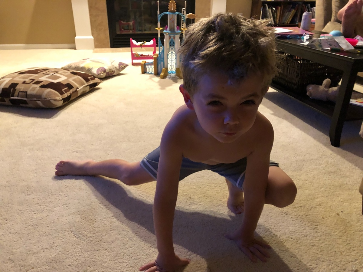 CBUS Dads dad blogger Dan Farkas' son enjoys a yoga session with his dad